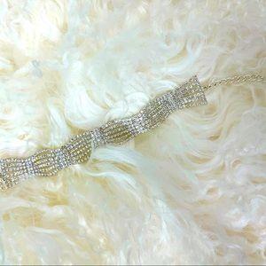 """NEW """"diamond"""" wedding bracelet silver tone!"""